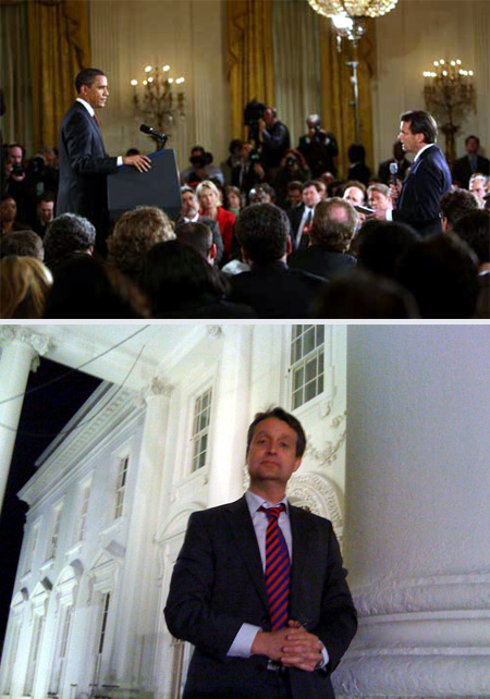 Nachtschicht im Weißen Haus: Obamas Pressegespräche finden immer im East Room des Weißen Hauses statt - und immer spät abends, Washington, Juli 2009On message: In the first six months after the inauguration the Obama White House invited the White House Press Corps several times to discuss the hot button issues. In the second half year he zipped his lips.